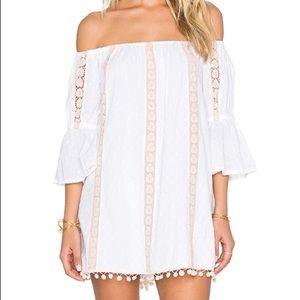 Tularosa   Sara Lace Off Shoulder Pom Pom Dress L